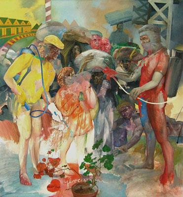 """Checkpoint"" (Geranien) Acryl/Öl auf Lwd., 2001, 160cm x 150cm"