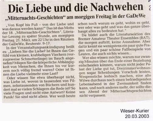 20.03.2003, Weser-Kurier