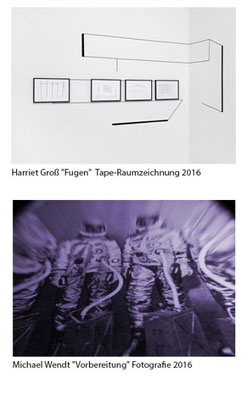 """Abbildungen von oben nach unten: Harriet Groß """"Fugen"""" Tape-Raumzeichnung 2016 Michael Wendt """"Vorbereitung"""" Fotografie 2016"""