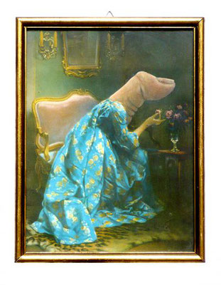 "Thomas Behling: ""Schlimmer Finger"", 2014, Acrylfarbe, Kunstdruck, Glas, Rahmen, 24 x 18 cm"