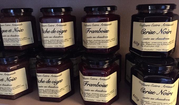 Confitures Figues et noix, Péche de vigne, Framboise, Cerise noire