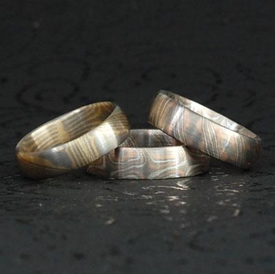 Verschiedene Mokume Gane Ringe