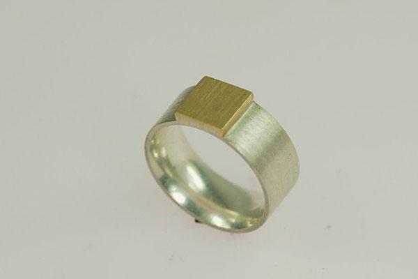 Siegelring, modern, zweifarbig Silber/Gold