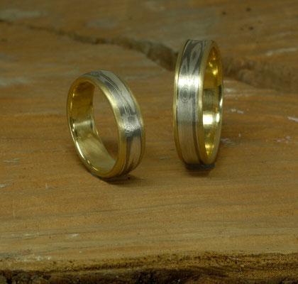 Mokume Gane Ringe aus Gelbgold, Silber und Palladium.