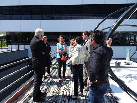Foto: |DA| vlnr Frau Dr. Timmerhaus (Emscher Genossenschaft), Marius Drahtler (Architekt |DA|), Ullrich Sierau (Oberbürgermeister der Stadt Dortmund)