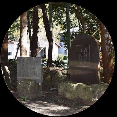 山門をくぐると、すぐ右側に二つの文学碑があります。今川氏親公が詠んだ仏道を求める歌「いかがえむ 四十あまりの年のをに とかぬ所の法のまことを」が石に刻まれています。その右側には正室である寿佳尼大方を讃える歌の歌碑がございます。この歌は寿佳尼大方の後裔である中御門宣子様が詠まれ、奉納された文学碑です。