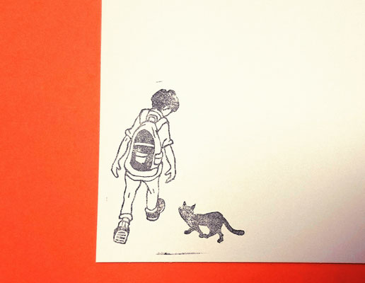 通学中に猫に遭遇はんこ