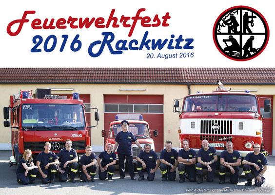 Programmflyer erste Seite für das Feuerwehrfest 2016 der Freiwilligen Feuerwehr Rackwitz