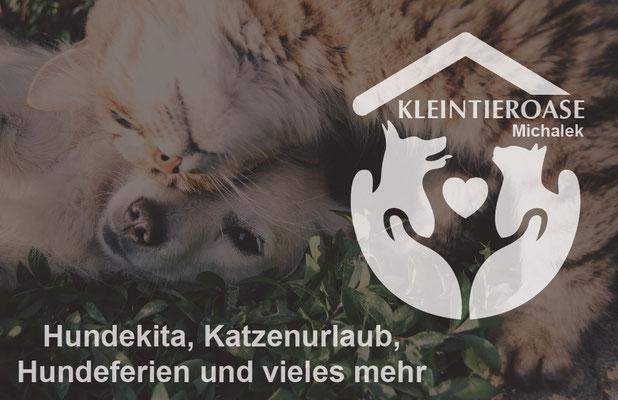 Visitenkarten Vorderseite für die Kleintieroase Michalek in Leipzig Engelsdorf