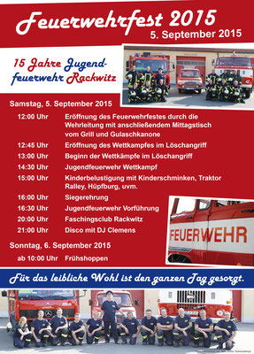 Plakat für das Feuerwehrfest 2015 der Freiwilligen Feuerwehr Rackwitz