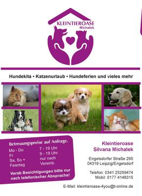 Flyer Vorderseite für die Kleintieroase Michalek in Leipzig Engelsdorf