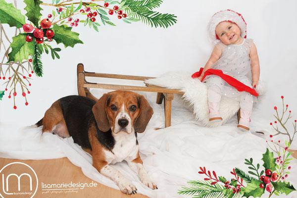 Homeshooting für Weihnachten mit Kind und Hund