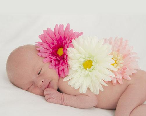 Meine Tochter mit wenigen Tagen mit Blumen beim Babyshooting