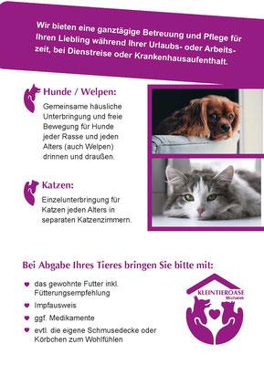 Flyer Rückseite für die Kleintieroase Michalek in Leipzig Engelsdorf