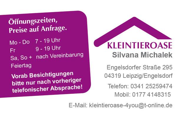 Visitenkarten Rückseite für die Kleintieroase Michalek in Leipzig Engelsdorf