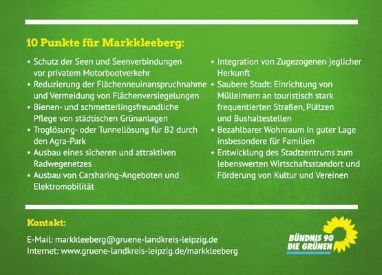 Wahlwerbung Flyer DIN A6 hinten, Bündnis 90/Die GRÜNEN Markkleeberg