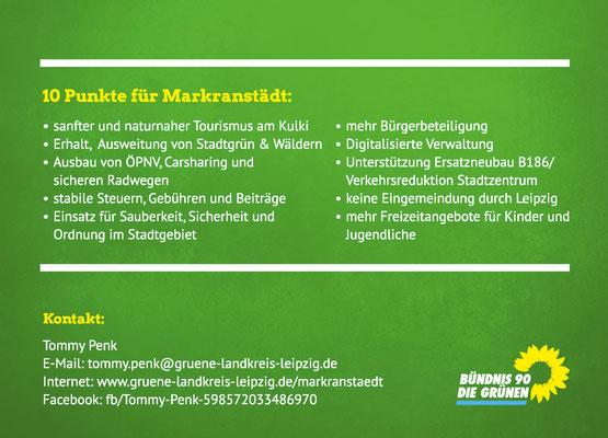 Wahlwerbung Flyer DIN A6 hinten, Bündnis 90/Die GRÜNEN Markranstädt