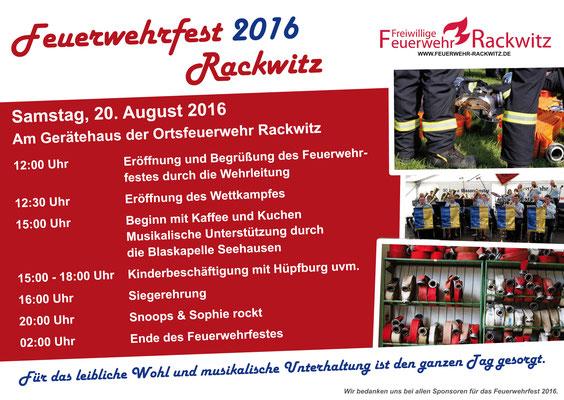 Programmflyer zweite Seite für das Feuerwehrfest 2016 der Freiwilligen Feuerwehr Rackwitz