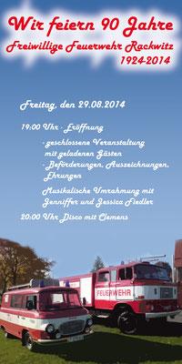 Programmflyer erste Seite für das Feuerwehrfest 2014 der Freiwilligen Feuerwehr Rackwitz