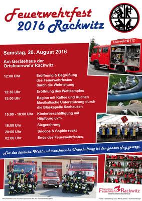 Plakat für das Feuerwehrfest 2016 der Freiwilligen Feuerwehr Rackwitz