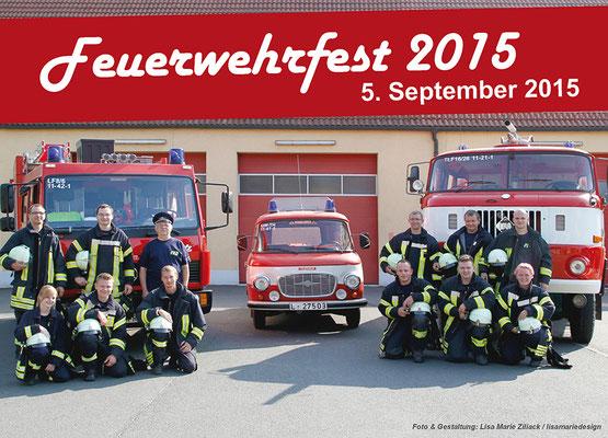 Programmflyer erste Seite für das Feuerwehrfest 2015 der Freiwilligen Feuerwehr Rackwitz