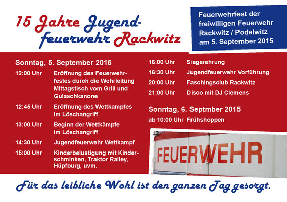 Programmflyer zweite Seite für das Feuerwehrfest 2015 der Freiwilligen Feuerwehr Rackwitz