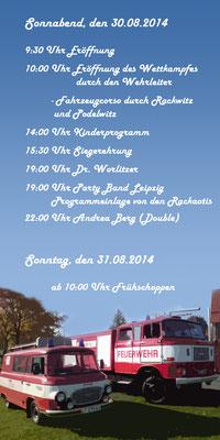 Programmflyer zweite Seite für das Feuerwehrfest 2014 der Freiwilligen Feuerwehr Rackwitz