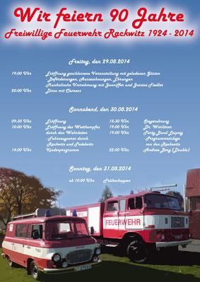 Plakat für das Feuerwehrfest 2014 der Freiwilligen Feuerwehr Rackwitz