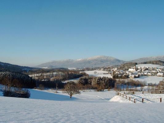 Ausblick in den winterlichen Bayersichen Wald