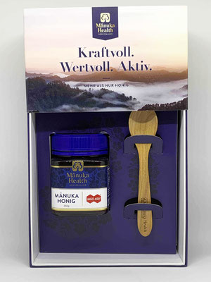 Manuka Honig Geschenkpackung mit Kirschholzlöffel MGO 400+  250g (Manuka Health New Zealand)