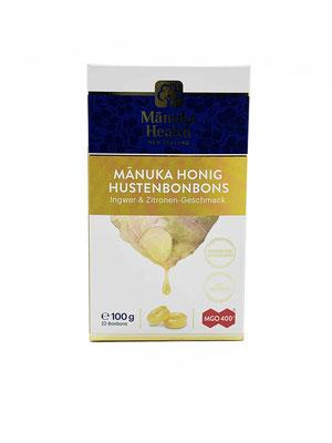 Lutschbonbon Manuka Honig 400+ mit Ingwer und Zitrone