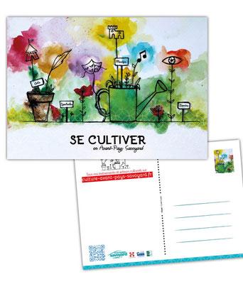 Illustration et mise en page de la carte postale pour la promotion de l'ouverture du site internet des événements culturels en Avant-Pays Savoyard