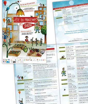 """Illustration et mise en page de l'affiche et du programme pour l'événement : """"Fête du printemps des jardins"""" à Chambéry le haut."""
