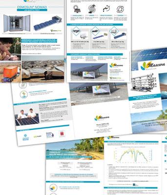 Mise en page de plaquettes commerciales pour l'entreprise de désalinisation d'eau grâce au solaire : Mascara