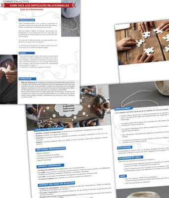 Mise en page, reflexion et choix des photos pour la plaquette commerciale d'un médiateur professionnel.