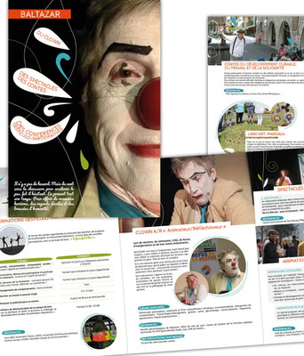 Mise en page de la plaquette de Baltazar : clown aux multiples visages (formations, interventions, spectacles...)