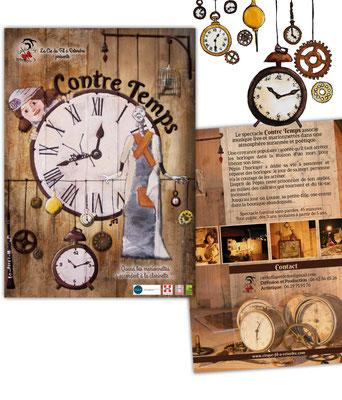 Peinture sur bois et mise en page de l'affiche, de la plaquette et du dossier de communication pour le spectacle de marionnettes Contre Temps de la Cie du fil à retordre.