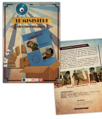 """Mise en page et illustration de la plaquette et de l'affiche du spectacle """"Le ministère des inventaires"""" de la cie Les petits détournements."""