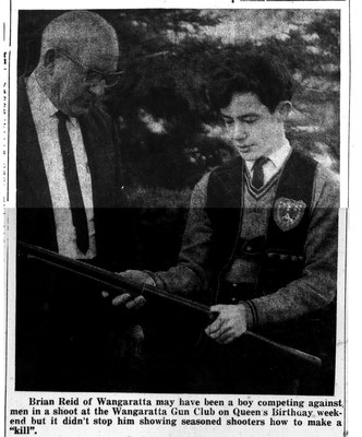1968 06 27 Brian Reid receiving his 75 Break badge from club secretary Stan Cordy. From the Wang Chronicle of that date.