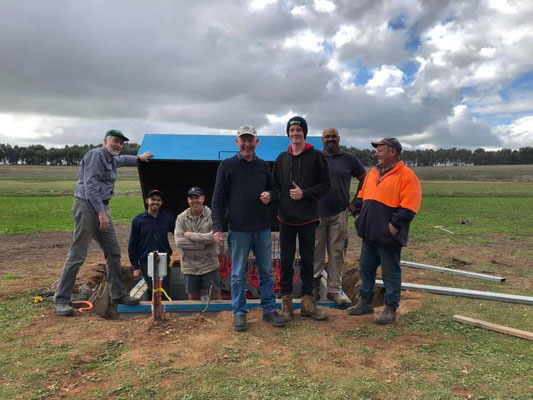 2019 05 26 Ground no.2 now has a new Laporte trap and a new house for it to live in, too. What a team! L to R: Peter Sunderland, Jacob Motha, Col Crittenden, Brian Reid, Tom Davey, Anton Motha, Craig Davey.