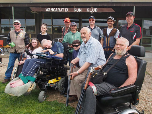 Brian Reid, Jacob Motha & Col Crittenden with the keen new shooters from Gateway Health's Neuro Support Group.