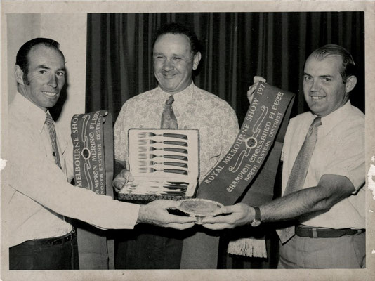 1974  Not shooting, but noteworthy nonetheless. Trevor Bussell's father Vic (see the famous 3.5 hour shoot-off  in the main story below) receiving wool awards at the Melbourne Show.