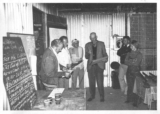 1979 06 19 George Walker 50 Years Service Award. L~R: Neil Hendy (in doorway), Jack Stamp, Peter French, Kevin Law, George Walker, Ray Lawford, Barbara Hendy.
