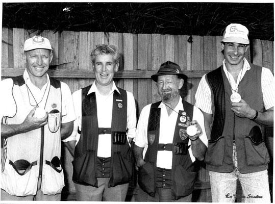 1980s Tony Penney, Brian North,  Col Sanders & Eugene Tomasini.