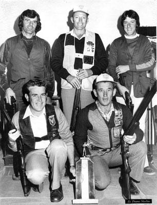 1981 National Championships at Melb GC.  Wang won the Alan Brown Teams Trophy. Top: Enio Cavedon, Tony Penney, John Rigoni. Kneeling:  Brian North & Dick English. Enio & Brian qualified for International Macintosh teams match.