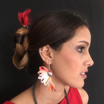 Boucles Flamenca et Pic à cheveux Chamane en plumes