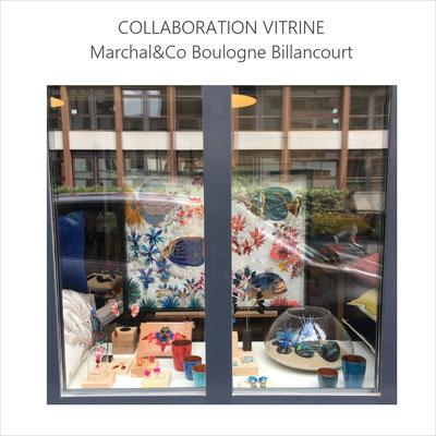 En partenariat avec Céline Kowalski, collaboration pour la scénographie de la vitrine de Marchal& Co et création d'un tableau orné de plumes sur le thème des poissons Empereurs (juin 2021)