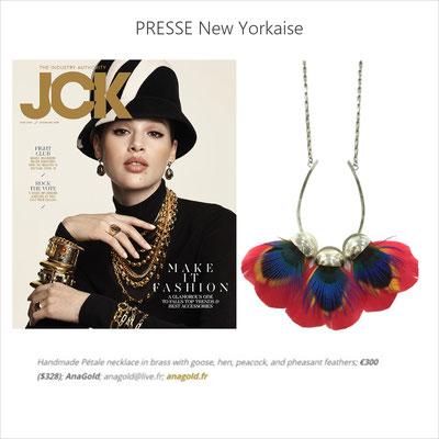 Le collier Pétale est à l'honneur dans le magazine new yorkais JCK (juin 2020)