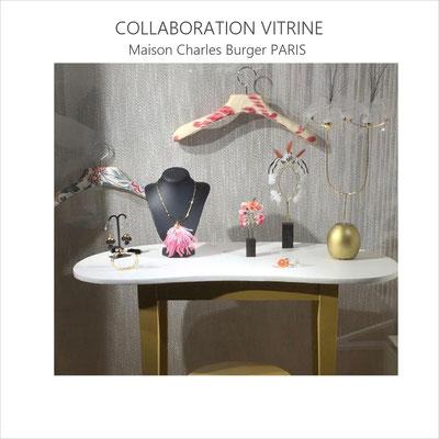 Collaboration à la scénographie de la vitrine de la prestigieuse maison parisienne de tissus d'ameublement sous la houlette de Céline Kowalski (janv 2020)