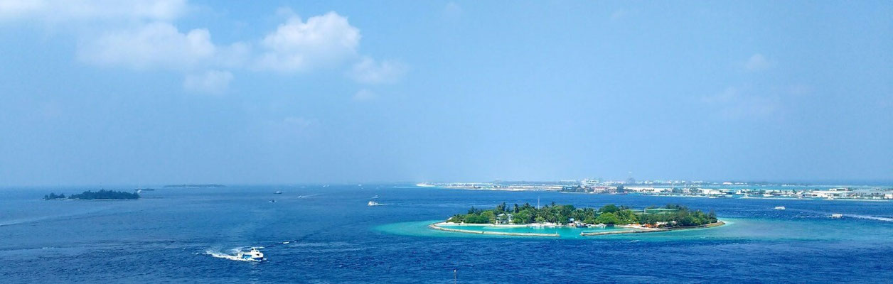The stunning view from Hotel Jen's rooftop pool in Male, the Maldives. Dante Harker